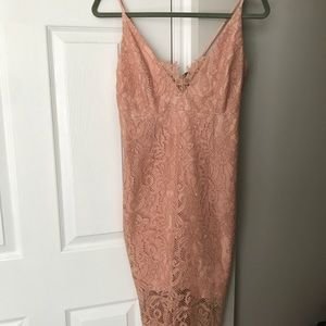 Bardot Rose Lace Pencil Dress
